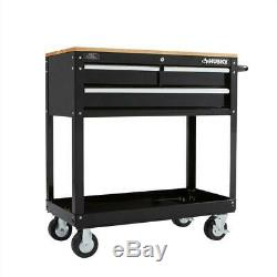 Garage 3-Drawer Rolling Tool Cart with Wood Top Mechanic Automotive Storage Push