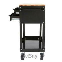 Garage 3-Drawer Rolling Tool Cart with Wood Top Mechanic Automotive Storage Push
