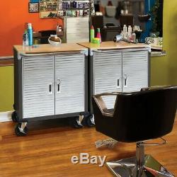 Garage Cabinet 2 Door Stainless Steel Tool Storage with Wheels Heavy Duty Rolling