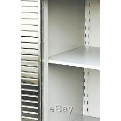 Garage Cabinet Heavy Duty Rolling 2 Door Stainless Steel Tool Storage Wood Top+
