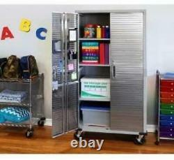 Garage Metal Rolling Tall Storage Cabinet Shelving Stainless Steel Doors Seville