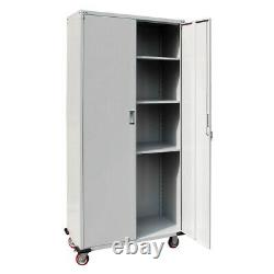 Garage Metal Rolling Tall Storage Cabinet Shelving Stainless Steel Doors Upright