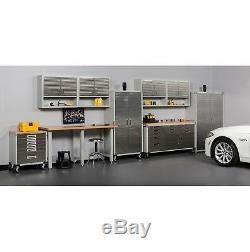 Garage Metal Rolling Tool File Storage Cabinet Shelving Stainless Steel Doors