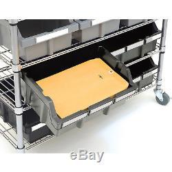 Garage Storage Rolling Cart Screw Washers Bolts Tools Nails 7-Shelf 22-Bin Rack
