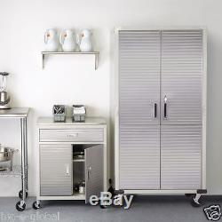 Garage Tall Steel Rolling Tool Storage Cabinet Shelving Stainless Steel Doors