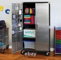 Garage Tool File Storage Cabinet Organizer Metal Rolling Home Stainless Steel Bk