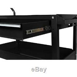Garage Tool Storage Utility Cart 37 in. 1 Drawer Heavy Duty Rolling Steel Black