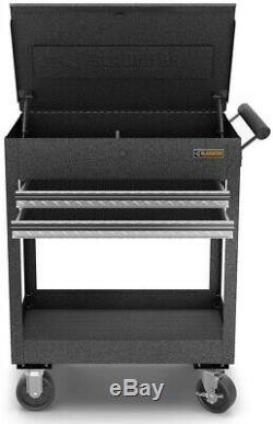 Gladiator Utility Cart Rolling Storage Tool 2 Drawer Steel Shelf Tray Granite
