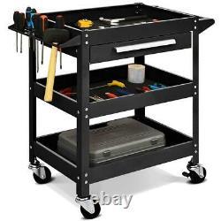 Goplus Three Tray Rolling Tool Cart Mechanic Cabinet Storage ToolBox Organizer w