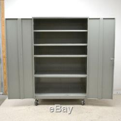 Gray 48 x 24 x 72 Steel 2-Door 4-Adjustable Shelves Rolling Storage Cabinet