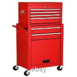 Gymax 2 In 1 Rolling Cabinet Storage Chest Box Garage Toolbox Organizer With 6