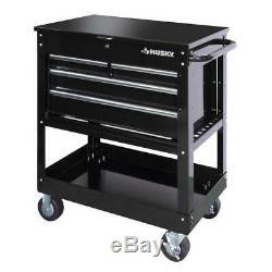 HUSKY Mechanics TOOL Cart 4-Drawer Storage 33 in. Rolling Wheels Black Steel