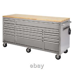 HUSKY TOOL CHEST MOBILE ROLLING GARAGE WORKBENCH with Solid Wood Top 72 in Storage