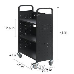 H&A Rolling Book Cart Home Office Library Book Truck Flat Storage Organizer