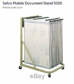 Hanging blueprint plan rolling mobile rack storage stand 24 Mayline Safco