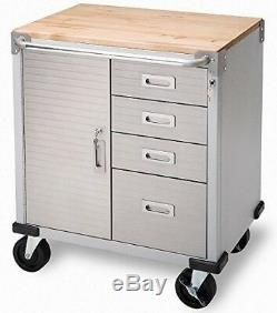 Hardwood Rolling 4 Drawer Workbench Tool Box Storage Steel Metal Cabinet with Key