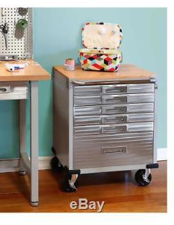 Hardwood Rolling 6-Drawer Workbench Tool Box Storage Steel Metal Cabinet with Key