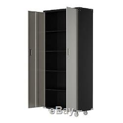 Heavy Duty Commercial Metal Rolling Tool Storage Cabinet with 4 shelves & Key Lock