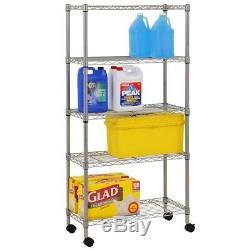 Heavy Duty Garage Steel Wire Chrome Rolling 5-Shelf Storage Shelving