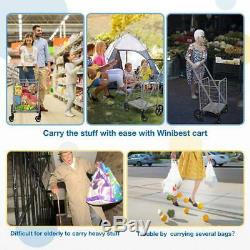 Heavy Duty Grocery Utility Flat Folding Shopping Cart Rolling Swivel Storage NEW