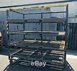 Heavy Duty Rack Steel Shelf Metal Storage Rolling Wheels 4 Shelving 7'x4'x7