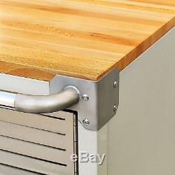 Heavy Duty Rolling Cabinet 2 Door Stainless Steel Garage Tool Storage Wood Top