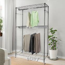 Heavy Duty Rolling Clothes Garment Racks Closet Wheeled Storage Dual Hanging Rod