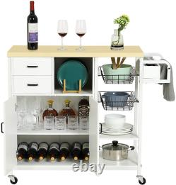 Heavy Duty Rolling Wood Kitchen Island Trolley Cart With 2 Drawers Storage Cabinet
