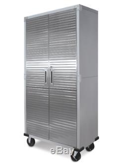 Heavy Duty Stainless Steel Rolling Storage Cabinet Garage Key Lock Metal Doors