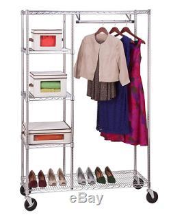 Heavy Duty Steel Rolling 4 Shelf Clothes Storage Garment Rack Closet Organizer