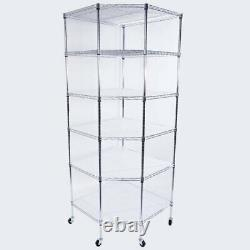 Heavy Duty Wire Metal 6Tier Corner Shelf Garage Storage Unit Shelving Rack&Wheel