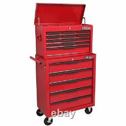 Hilka Steel Rolling Tool Cabinet Red 14-Drawer Top Chest Box Garage Storage