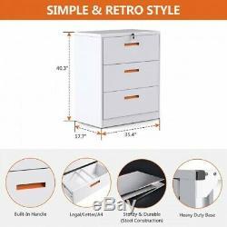 Home Office Metal Rolling Mobile File Cabinet Lock Storage Steel Furniture