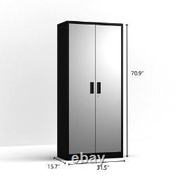 Home Office Steel Storage Cabinet Rolling Storage 4 Adjustable Shelves and Lock