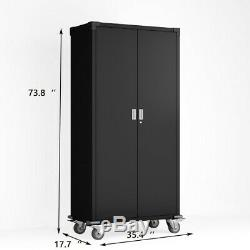 Home Office Steel Storage Cabinet Rolling Storage With4 Adjustable Shelves Lock