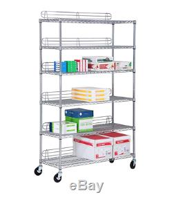 Honey-Can-Do 6-Shelf Rolling Steel Adjustable Shelves Storage Rack Shelving Unit
