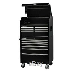 Husky 12 Drawer Tool Chest Rolling Cabinet Storage Power Strip Steel Shop Black