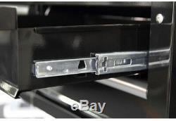 Husky 36 in 3 Drawer Wheel Rolling Tool Utility Cart Black Wood Top Storage