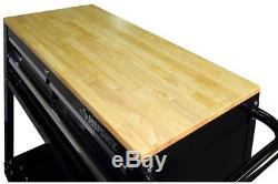 Husky 36 in. Rolling Tools Cart 3-Drawer Wood Top Black Shelf Storage Garage