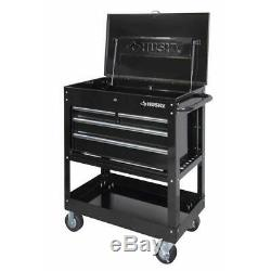 Husky Mechanics Tool Utility Cart Rolling Wheels 33 in. W 4-Drawer Storage Black
