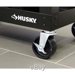 Husky Portable Workbench 3 ft Solid Wood Top Rolling Steel Office Garage Storage