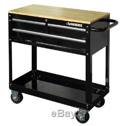 Husky Rolling Tool Cart 3 Drawer Solid Wood Top 36 in. Utility Storage Black NEW