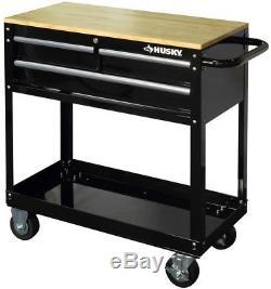 Husky Rolling Tool Storage Cart 36 in. 3-Drawer Wood Top Steel Bottom Tray Black