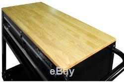 Husky Rolling Utility Tool Storage Cart 36 in. 3-Drawer Wood Top Steel Frame