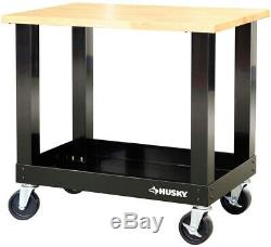 Husky Work Bench Table Tool Storage Rolling 3 ft Mobile Solid Wood Top Workbench