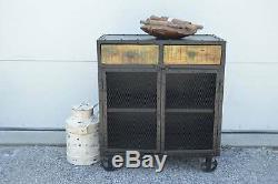 Industrial Reclaimed Wood Steel Rolling Cabinet Entryway Storage Cabinet