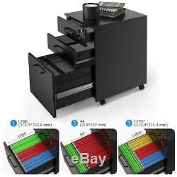 Industries 3-Drawer Rolling Letter Filing Cabinet Storage Office Metal Vertical