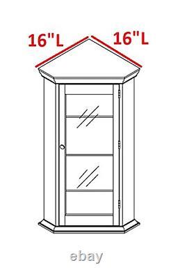 Kings Brand Furniture Corner Curio Storage Cabinet with Glass Door, Black