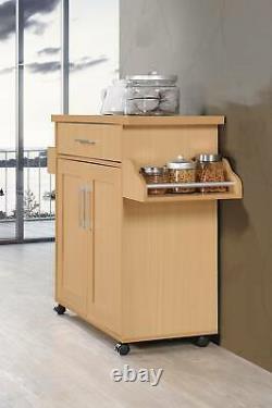 Kitchen Cart Island Storage Serving Rolling Mobile 2-Door Shelf Wooden Dining