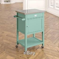 Kitchen Cart With Stainless Steel Top Rolling Rack Cabinet Drawer Wooden Storage